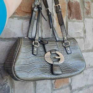 Guess Greeny Pewter Croc Pattern Purse Bag